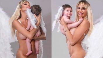 Vicky Xipolitakis posó desnuda con su bebé de 8 meses