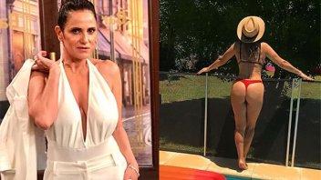 A los 53 años, María Fernanda Callejón lució su lomazo en la pileta