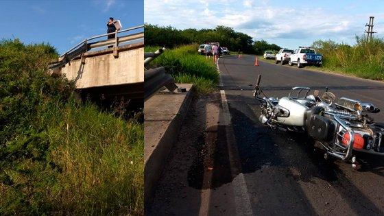 Motociclista cayó desde un puente y se encuentra en grave estado