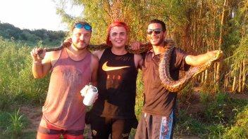 Hallaron una Curiyú de dos metros en la isla: Se tomaron fotos y la liberaron