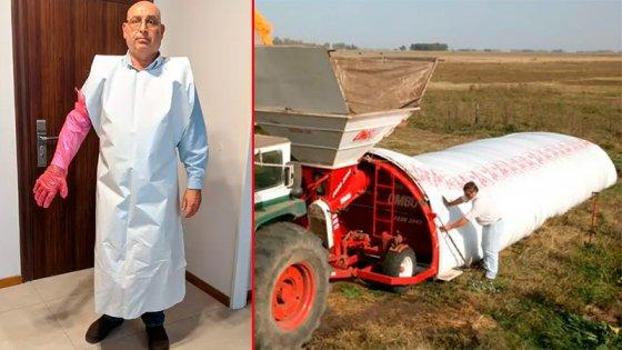 Fabrican delantales médicos para hospitales con restos de silobolsas