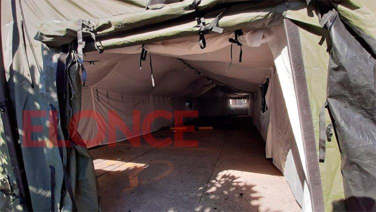 Coronavirus: El Ejército instaló una carpa sanitaria en el hospital San Martín