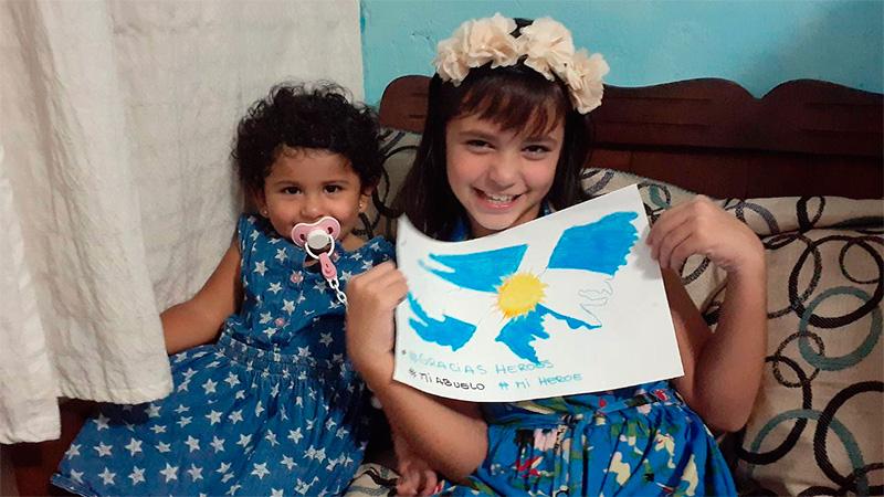 Banderas, dibujos y sirenazo para homenajear a los veteranos de Malvinas