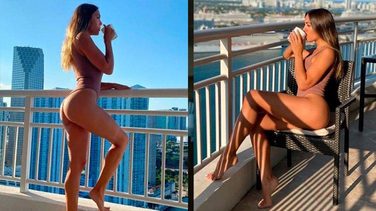 Tomó sol en el balcón y se fotografió luciendo una diminuta malla