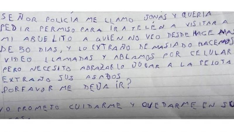 La carta que escribió el niño a la policía