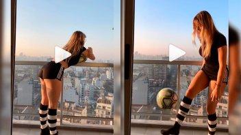 Video: Nati Jota hizo jueguitos en el balcón y sufrió un percance