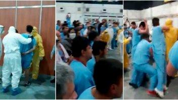Video: Pelea entre contagiados con Covid-19 en un centro de aislamiento