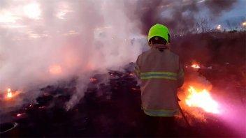 Incendio de pastizales y cubiertas demandó la intervención de Bomberos
