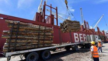 Zarpó barco desde Puerto Ibicuy con 28.000 toneladas de troncos
