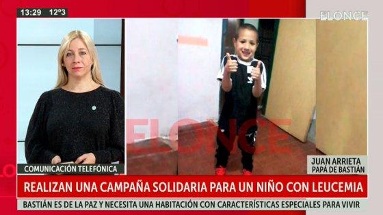 Realizan la campaña solidaria #UnaCasaParaBastian, un niño que padece leucemia
