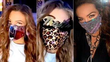 Thalía presentó su colección de glamorosos barbijos personalizados