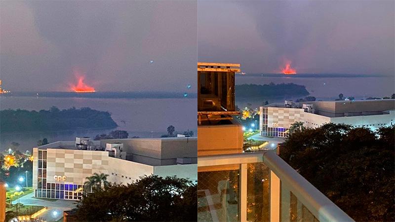 Incendio en Islas frente a la costa paranaense.-