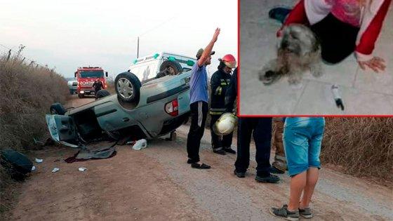 Vuelco, dos personas rescatadas y una mascota perdida: Cómo fue el reencuentro