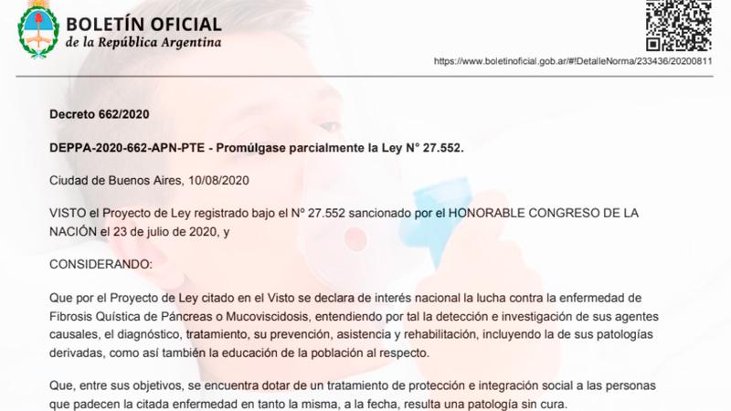 Con el veto parcial, promulgaron la ley de fibrosis quística: Las modificaciones