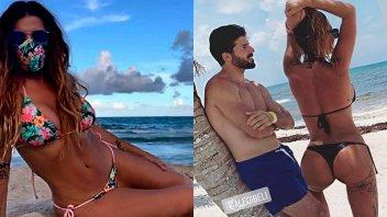 Lució su figura en bikini y con barbijo: