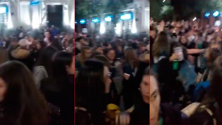 Videos: Sin distanciamiento ni barbijos, estudiantes coparon calles en Chajarí