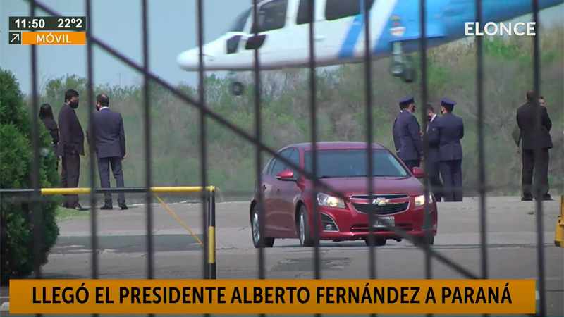 Alberto Fernández llegó a Paraná e inicia las actividades previstas