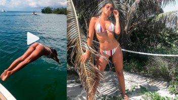 Se tiró al agua con una diminuta bikini y reveló por qué renunció a un noticiero