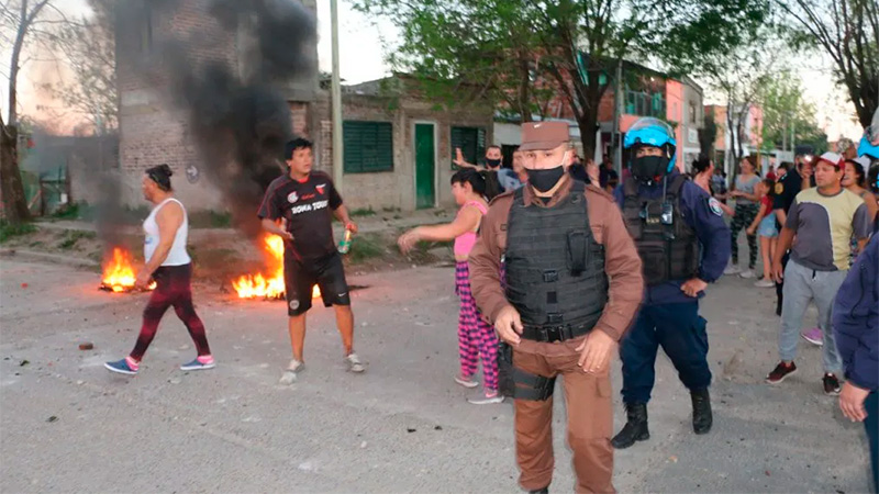 Manifestación en barrio Munilla de Gualeguaychú.