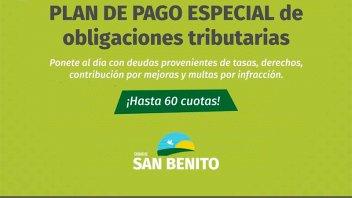 Moratoria en San Benito: Se podrán regularizar deudas en hasta 60 cuotas