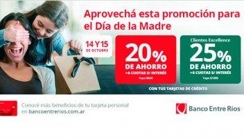 Día de la Madre: Promociones con tarjetas de crédito del Banco Entre Ríos