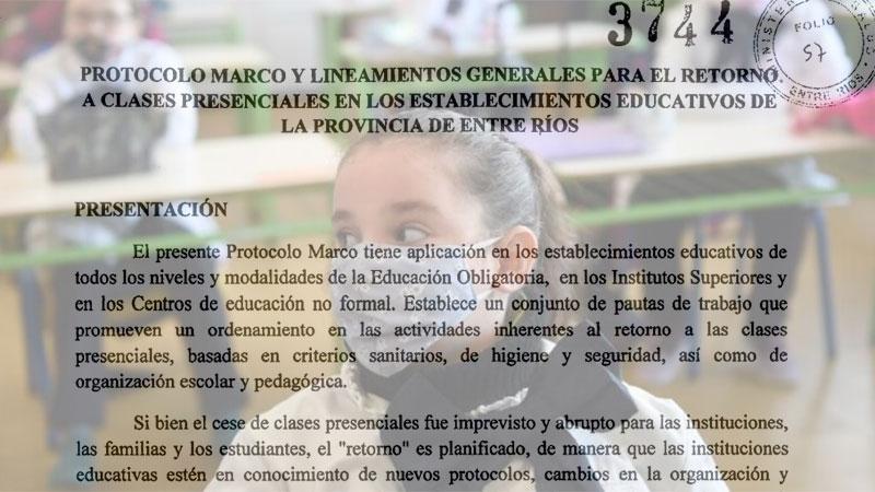 Retorno a las clases presenciales en Entre Ríos: Los 85 puntos del protocolo