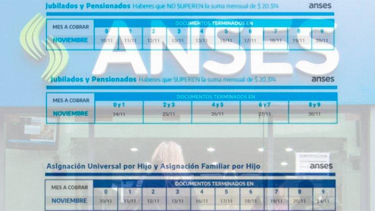 Jubilaciones, pensiones y AUH: Los cronogramas de pagos de Anses para noviembre
