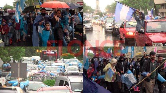 Bajo la lluvia, se replicó en Paraná la marcha contra la legalización del aborto