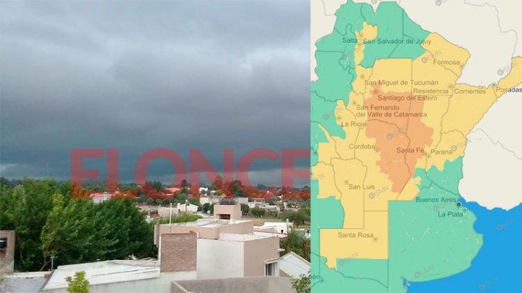 Alerta por tormentas para muchas provincias, incluida una parte de Entre Ríos