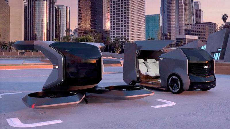 El vehículo volante VTOL, a la izquierda, con otro concepto de General Motors.