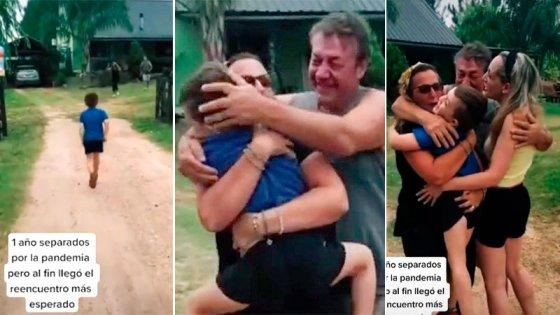 Video de emotivo reencuentro: nieto visita a sus abuelos tras un año sin verlos