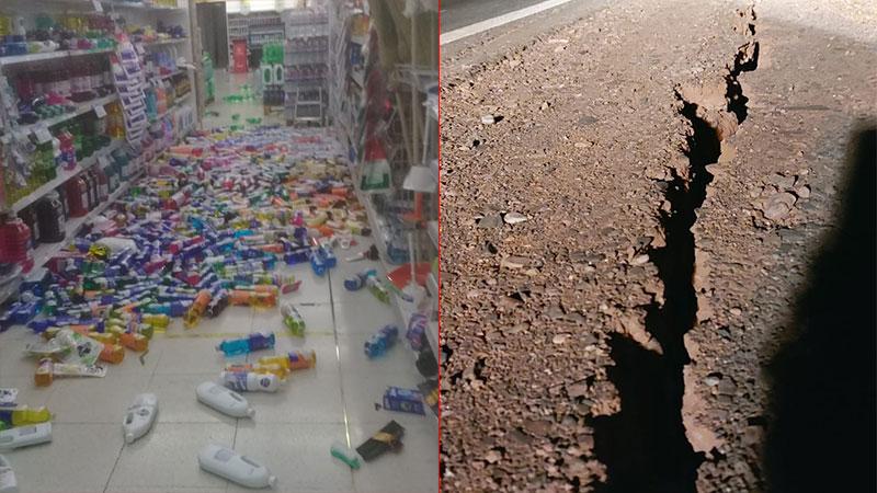 Las secuelas del sismo en un comercio y en la ruta