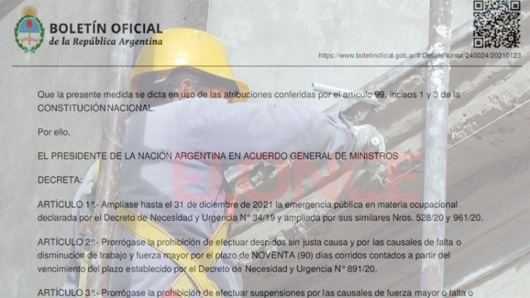 Decreto: oficializan prórroga de prohibición de despidos y doble indemnización