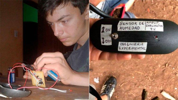 Tiene 15 años y con poca señal en su chacra, fabricó un sensor de humedad