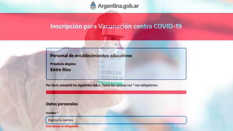 Habilitaron el registro para vacunación de docentes: el formulario a completar