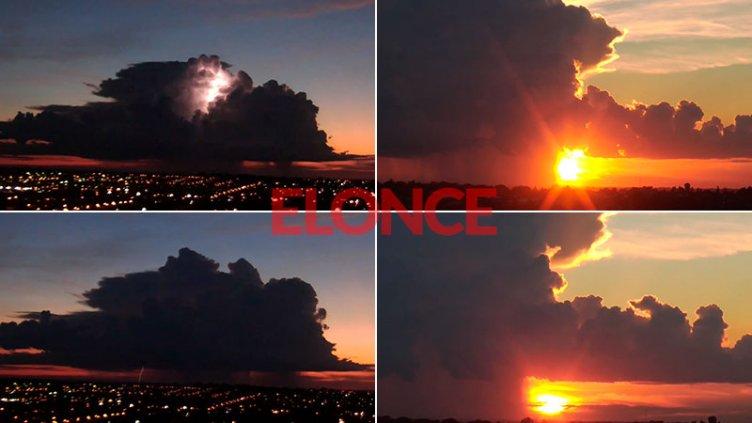 Video del amanecer en 3 minutos: Nube con lluvia y relámpagos en cielo despejado