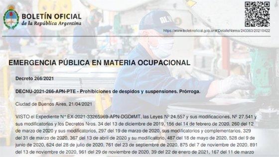 Oficializaron prórroga de prohibición de despidos y excluyen a la construcción
