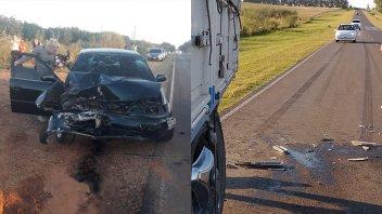 Chocaron contra un camión y en la ruta quedó marcada la frenada de 70 metros