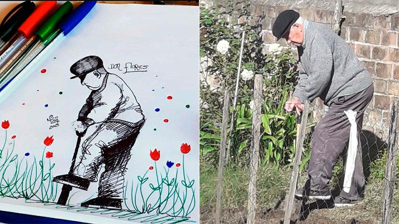 El dibujo de Don Flores, realizado por Nicolás Lima.