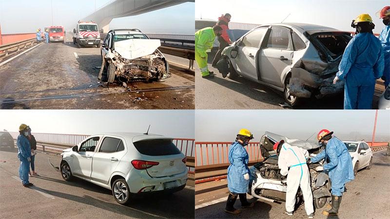 Tres heridos tras choque múltiple entre 8 autos en puente Zárate- Brazo Largo