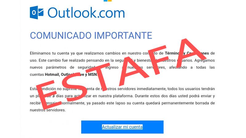 Este es el correo que recibieron muchos usuarios de Outlook
