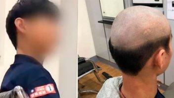 """Para que su hijo no salga a la calle, pidió al peluquero un corte """"vergonzoso"""