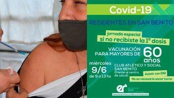 Jornada de vacunación en San Benito: aplican primera dosis a mayores de 60