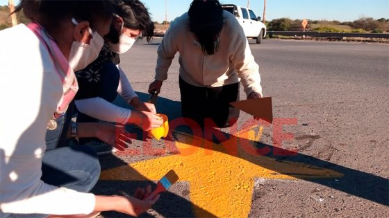Pintaron estrella amarilla para recordar a víctima de siniestro vial