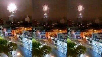 Tiraron fuegos artificiales en una terraza de edificio y vecinos se alarmaron