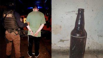 Con una botella de cerveza agredió en la cabeza a una joven y fue detenido