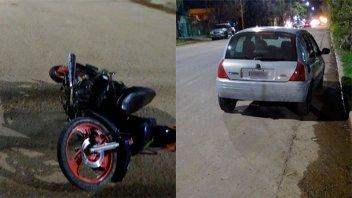 Hospitalizaron a un motociclista tras chocar fuertemente con un auto