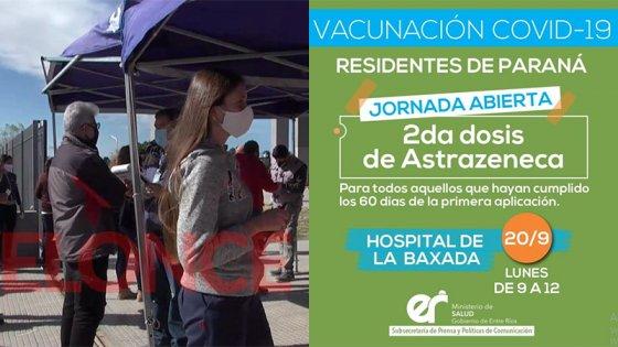 Aplicarán hoy sin turno segundas dosis de Astrazeneca en Paraná
