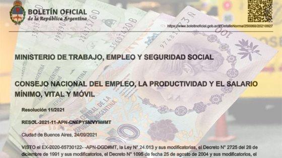 Oficializaron la suba escalonada del salario mínimo hasta febrero de 2022