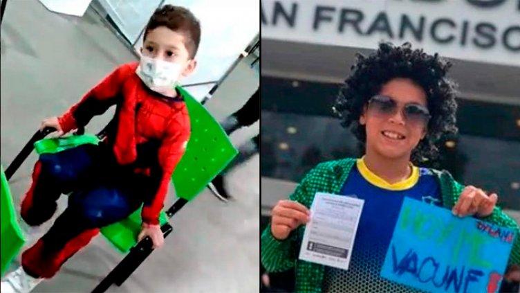 Disfrazados de sus ídolos, dos niños fueron a vacunarse contra el covid 19